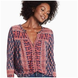Lucky Brand // Woodblock Printed Boho Top XL